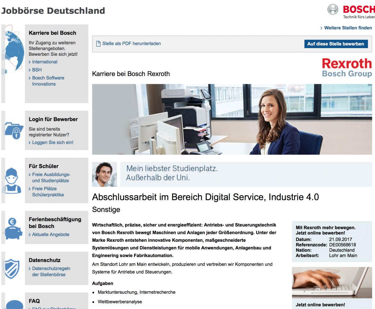 Jobbörse der Firma Bosch