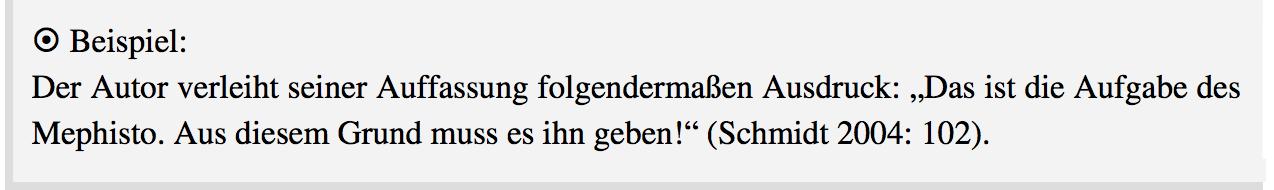 Beispiel Harvard-Stil im Text bei wörtlichen Zitaten mit Ausrufezeichen