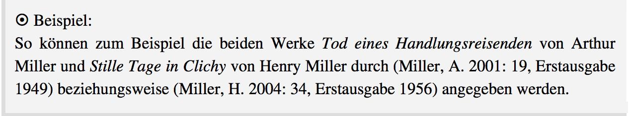 Beispiel Harvard-Stil im Text bei Autoren mit demselben Nachnamen