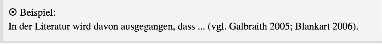 Beispiel Harvard-Stil im Text mit Angabe mehrerer Werke